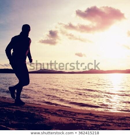 シルエット · 男 · ヨガ · 日没 · 波状の · ビーチ - ストックフォト © paha_l