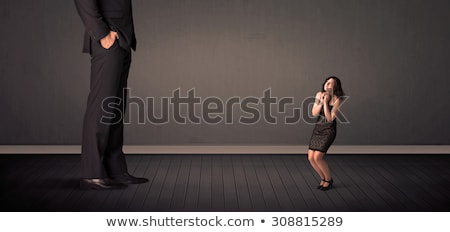 Little bussineswoman in front of a giant boss legs concept Stock photo © ra2studio