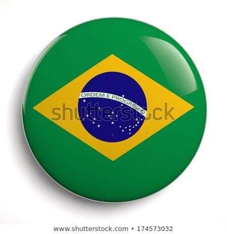 Brésil pavillon ovale bouton argent isolé Photo stock © Bigalbaloo