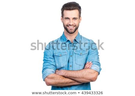 улыбаясь · красивый · мужчина · усы · белые · волосы · красивый · белый - Сток-фото © maridav