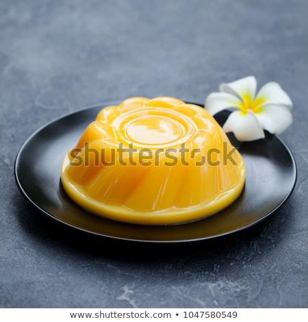 Tatlı puding mango hizmet kıyılmış nane Stok fotoğraf © Klinker