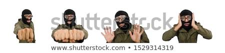 Foto stock: Funny · hombre · aislado · blanco · máscara