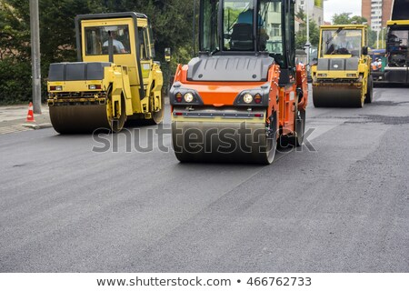 Stock photo: Compactor roller during road construction