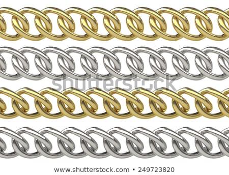 Végtelenített lánc arany ezüst izolált fehér Stock fotó © pakete