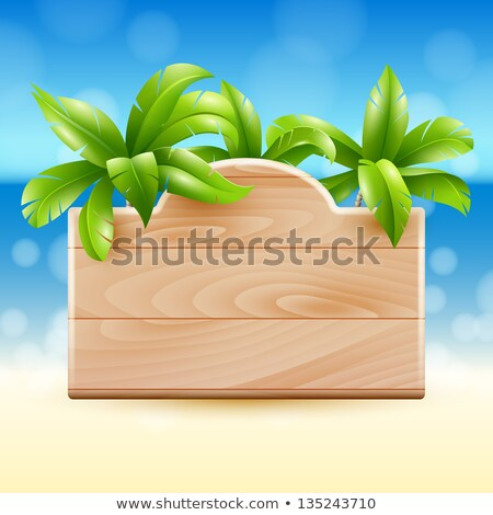 An empty signboard at the beach with a coconut tree Stock photo © bluering