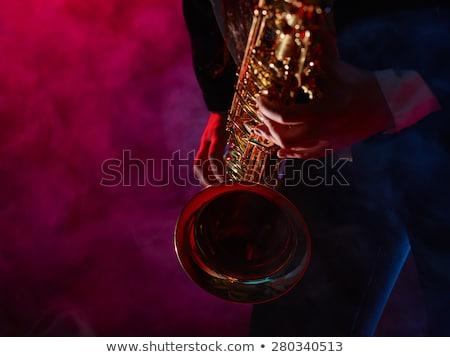 Młoda kobieta saksofon grać etapie kolorowy 3d Zdjęcia stock © orla