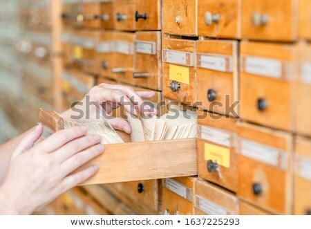 Retro cartão gaveta metal etiqueta Foto stock © frannyanne