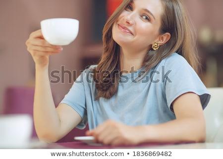 Nők iszik kávézó vonzó lányok megnyugtató Stock fotó © bezikus
