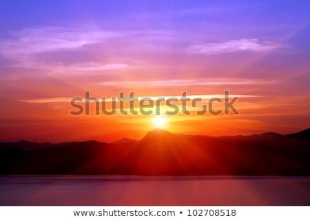 Akşam dağlar deniz yaz manzara Stok fotoğraf © Kotenko