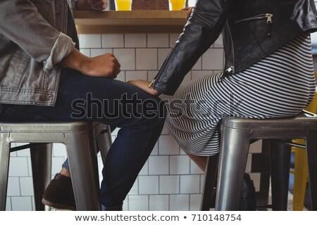 Alacsony részleg fiatal pér zsámoly kávézó megnyugtató Stock fotó © wavebreak_media