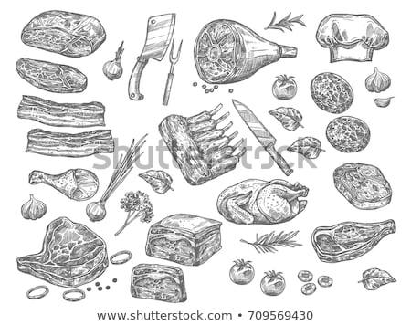zestaw · kiełbasa · biały · ilustracja · obiedzie · sylwetka - zdjęcia stock © marysan