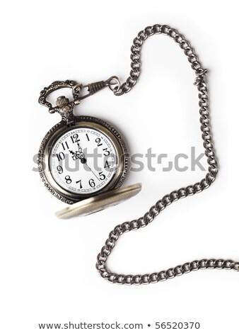 Hand Old Brass Pocket Watch Isolated Background Stock photo © Qingwa
