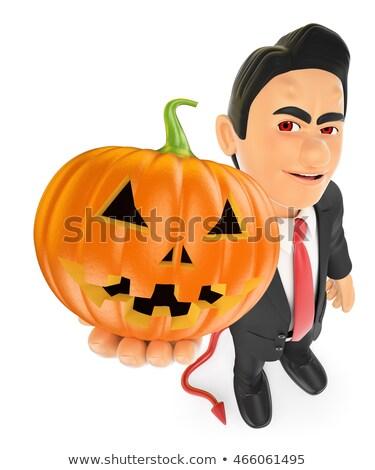 3d businessman with a big pumpkin halloween stock photo © texelart