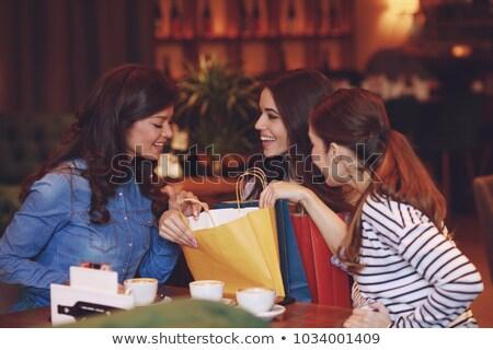 mulher · jovem · sessão · café · compras · retrato - foto stock © monkey_business