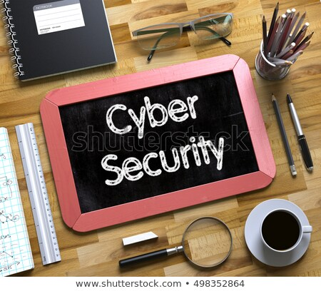 Small Chalkboard with Cyber Security Concept. 3D. Stock photo © tashatuvango