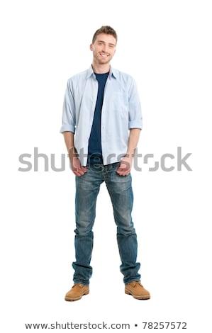 portret · gelukkig · mannelijke · student · bibliotheek · huiswerk - stockfoto © deandrobot
