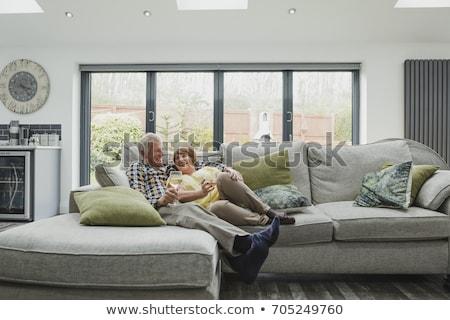 пару · гостиной · Смотря · телевизор · питьевой · белый · выиграть - Сток-фото © monkey_business