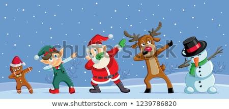 Rajz karácsony hóember manó betűk tél Stock fotó © Krisdog