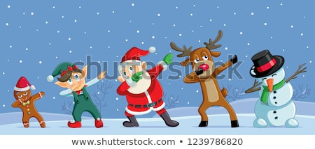cartoon christmas snowman and elf santas helpers stock photo © krisdog