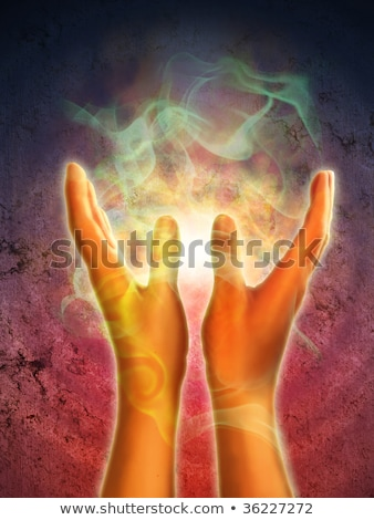 Healing hand with reiki lines Stock photo © cienpies
