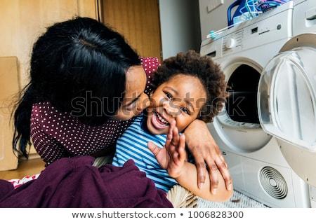 Foto d'archivio: Madre · figlio · lavanderia · giardino · ritratto