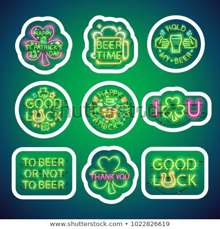 Glowing Neon Patricks Signs Sticker Pack with Stroke Stock photo © Voysla