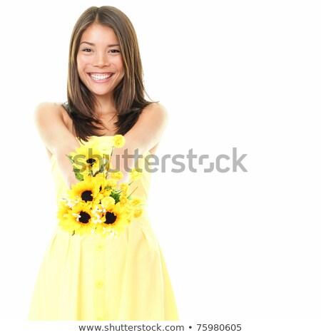 幸せ アジア 女性 黄色の花 白 ストックフォト © palangsi
