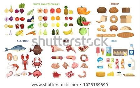 вектора · рыбы · овощей · пластина · приготовленный · сырой - Сток-фото © freesoulproduction