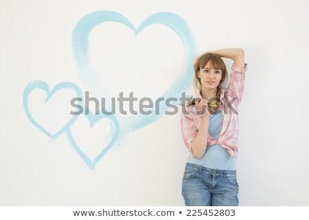 Nő festett szív szeretet természet hó Stock fotó © IS2