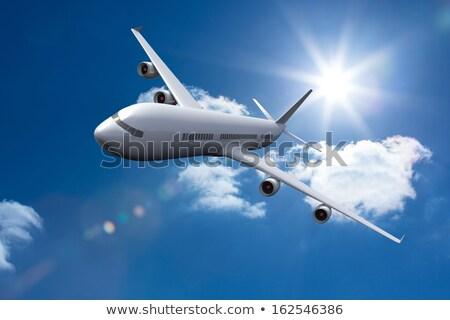 Ilustração 3d avião voador nuvens azul viajar Foto stock © anadmist