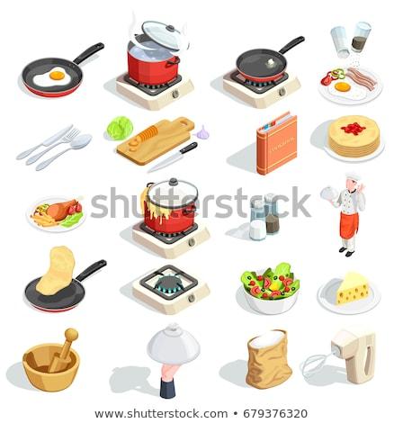 fast · food · iconen · zwart · wit · kijken · hamburger · hotdog - stockfoto © glorcza
