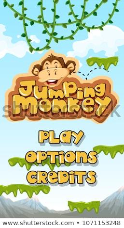 Stock fotó: Ugrik · majom · fő- · sablon · illusztráció · boldog