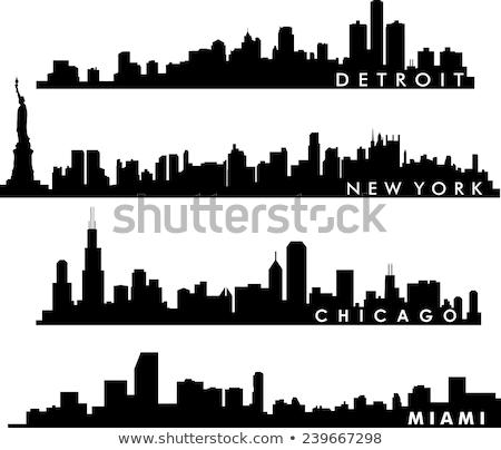 Detroit skyline icon eenvoudige illustratie stad Stockfoto © blamb