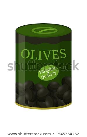 Lata preto oliva ilustração comida projeto Foto stock © bluering