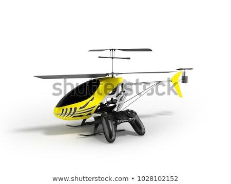 ヘリコプター · 飛行 · 孤立した · 白 · 青 - ストックフォト © mar1art1