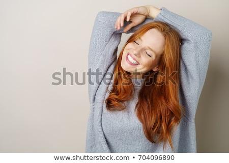 Vörös hajú nő szépség pózol nő szép lakás Stock fotó © konradbak