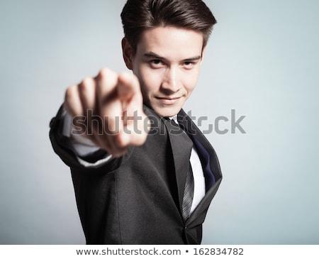 ハンサム ビジネスマン ポインティング 指 右 手 ストックフォト © Minervastock