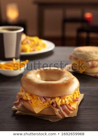 rustic bacon egg breakfast sandwich bun Stock photo © zkruger