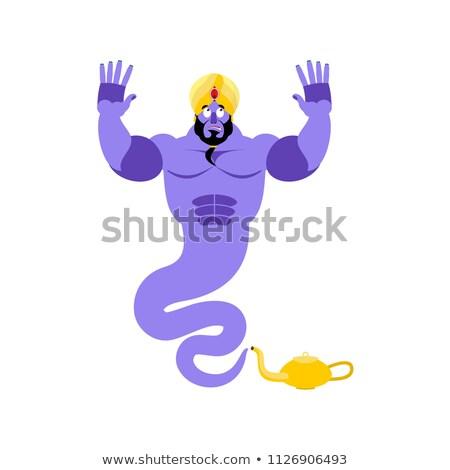 Genie Surprised Emoji. Magic ghost astonished emotion. Arabic ma Stock photo © popaukropa