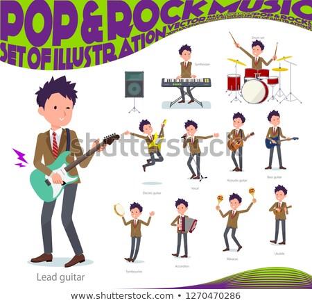 Schooljongen bruin muziek ingesteld spelen rock Stockfoto © toyotoyo