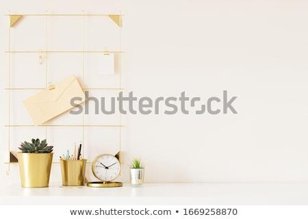 Kantoor aan huis werkruimte laptop groene bladeren witte bureau Stockfoto © neirfy