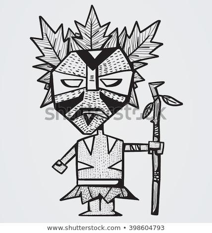 scared cartoon witch doctor stock photo © cthoman