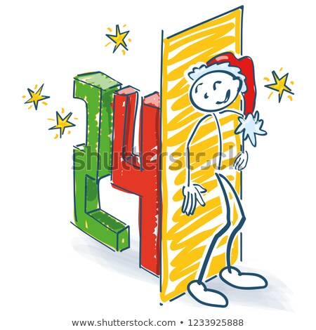 Stick figure as Santa hiding behind the 24th day Stock photo © Ustofre9