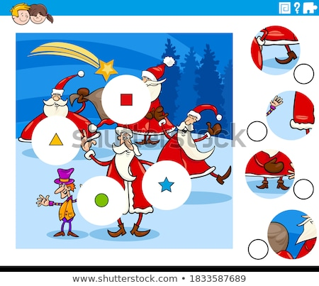 match pieces puzzle game with Santa Characters Stock photo © izakowski