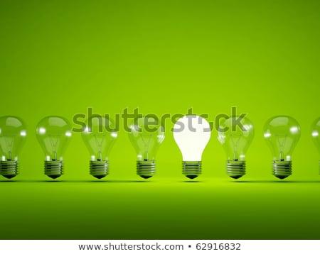 Stok fotoğraf: Yeşil · ampul · 3d · illustration · enerji · beyaz