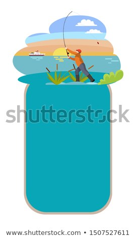 Poster with Fishing Men and Framed Text Sample Stock photo © robuart
