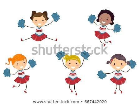 Stickman Kids Girls Cheer Leaders Illustration Stock photo © lenm