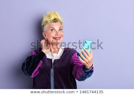 Foto stock: Senior · mulher · telefone · móvel · parque