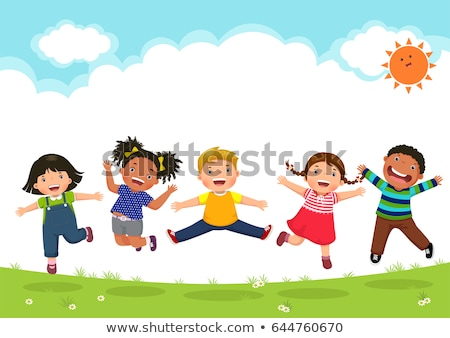 vijf · jonge · vrienden · springen · buitenshuis · glimlachend - stockfoto © dolgachov