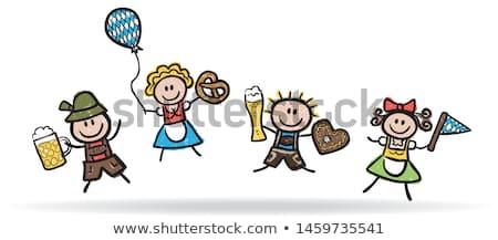 Karikatur Lederhosen Junge Banner Illustration Kinder Stock foto © cthoman